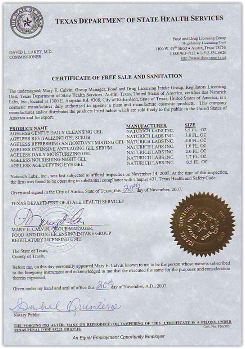California certificate of free sale example gallery certificate california certificate of free sale example image collections sample certificate of manufacture and free sale gallery yadclub Image collections